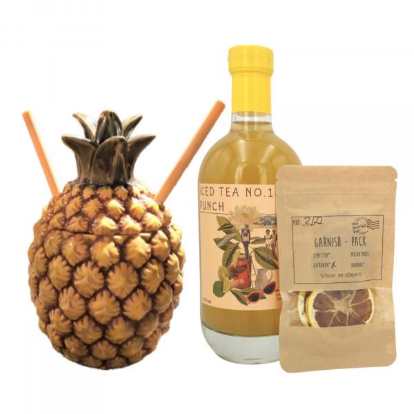 Tiki Mug Ananas + 2 Bambus Trinkhalme + Bottled Bar Iced Tea No.1 Punch