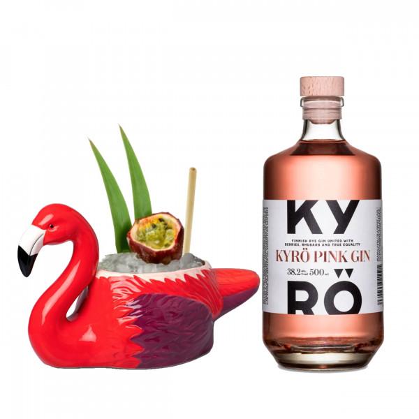 Tiki Mug Flamingo + Kyrö Pink Gin