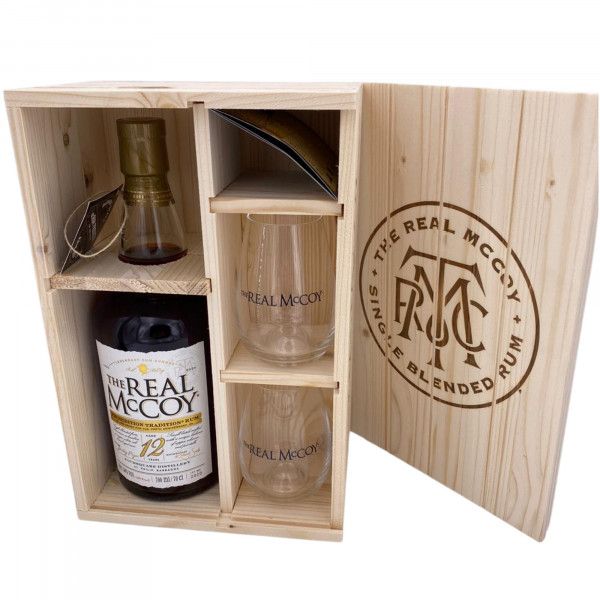 The Real McCoy - 12 Years 100 Proof 100th Anniversary Holzbox + 2 Tumbler