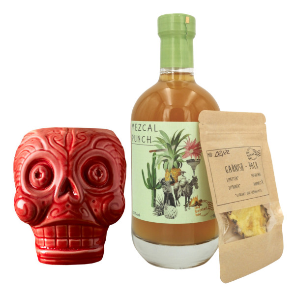 Tiki Mug Red Skull + Bottled Bar Mezcal Punch