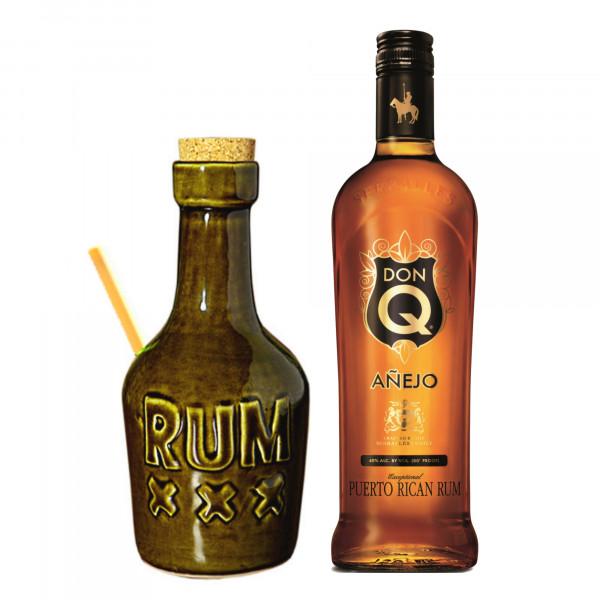 Tiki Mug Rum Bottle + Bambus Trinkhalm + Don Q Anejo
